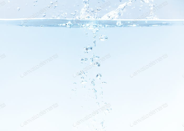 Water bubbles underwater background with free space