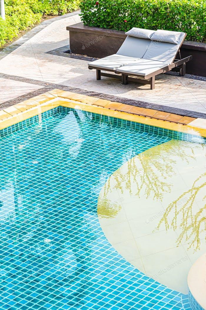 Top of view outdoor swimming pool in resort hotel