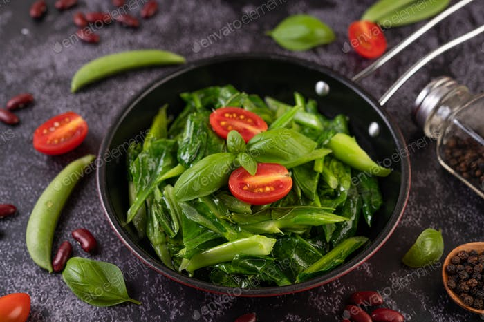 Stir-Fried Kale in Oyster Sauce on a Pan.