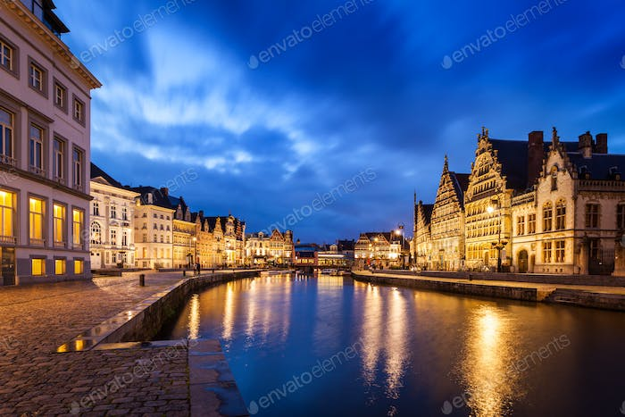 Ghent canal, Graslei and Korenlei streets in the evening. Ghent