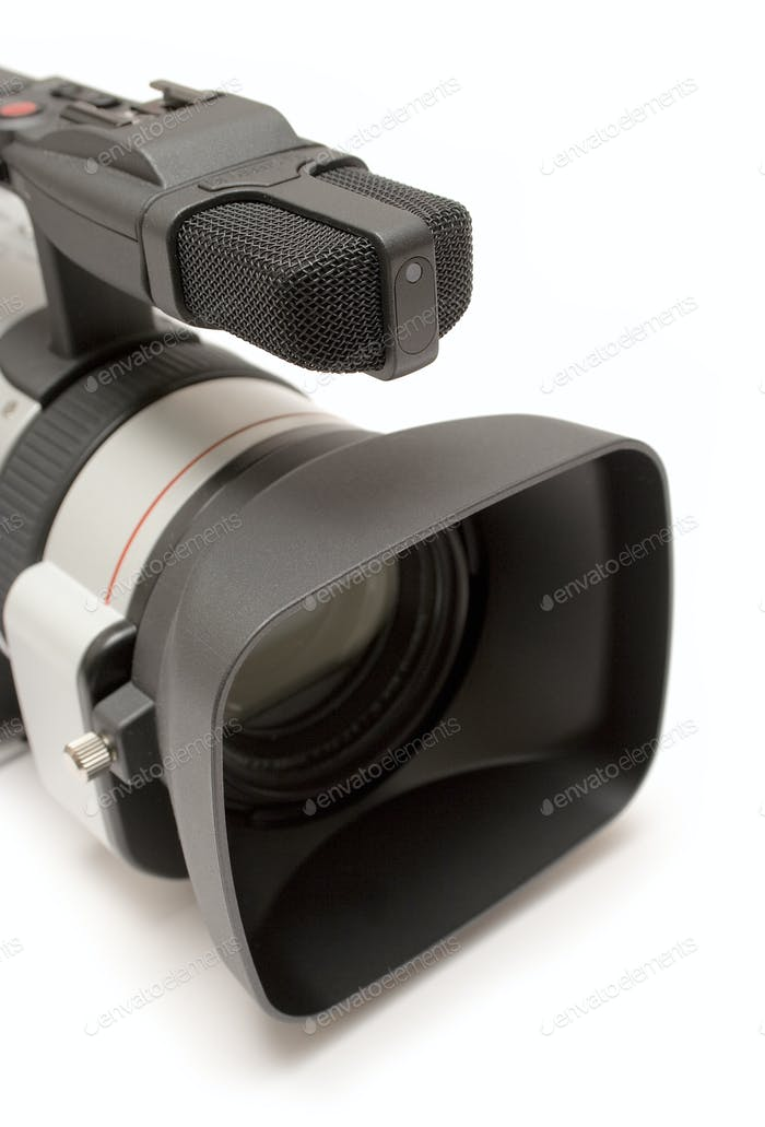 Digital Camcorder Detail Isolated on a White Background
