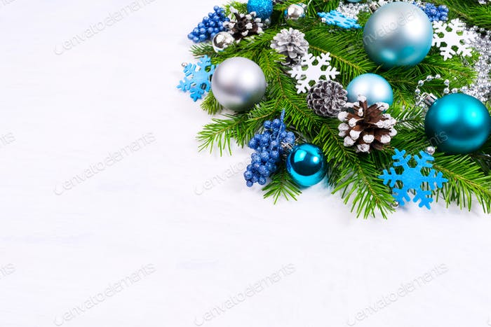 Christmas greeting with silver, pale blue and turquoise balls, g