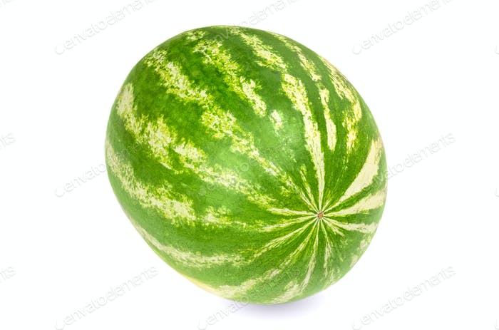 Whole sweet watermelon, front view, on white background