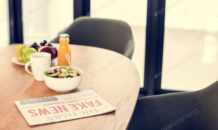 Healthy breakfast in meeting room
