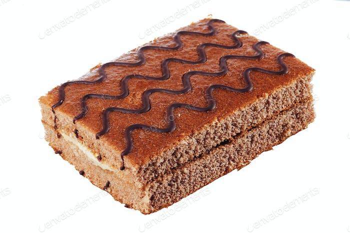 Leckerer Schokoladenkuchen bewässert. Werbung Fotografie