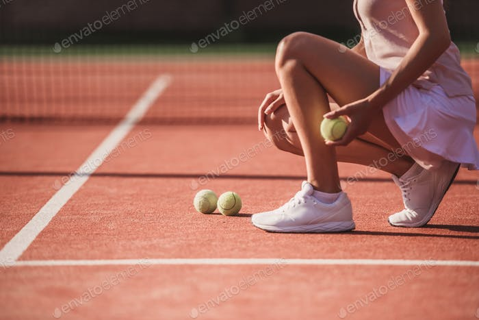 Girl playing tennis