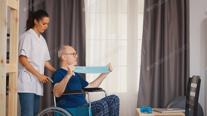 Senior man with disability