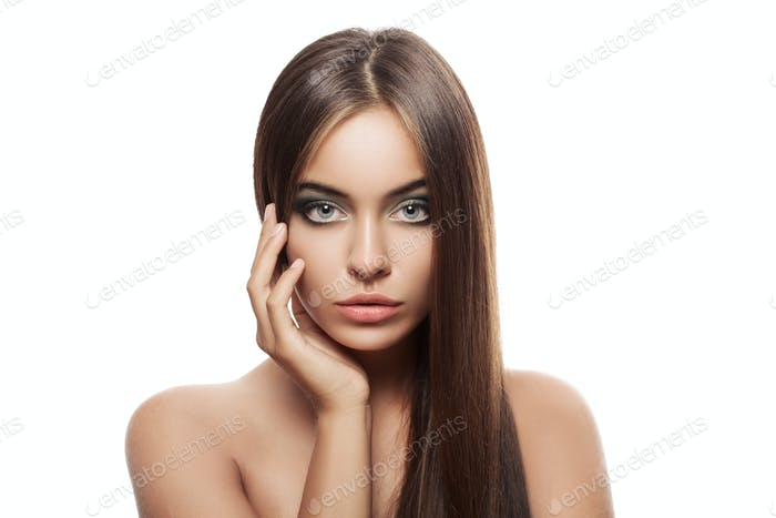 Beauty Woman With Healthy Brown Hair. Long Shiny Straight Hair.