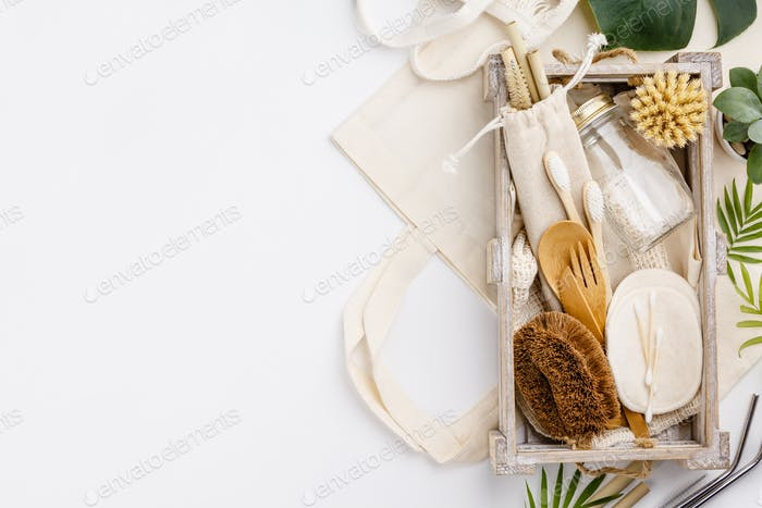 Zero waste, Recycling, Sustainable lifestyle concept, flat lay