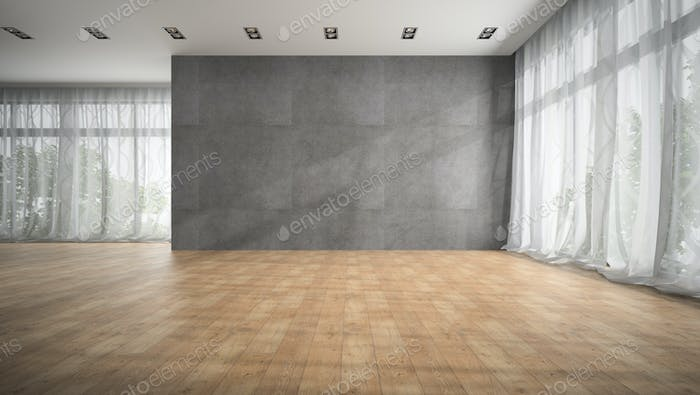 Empty modern design room with parquet floor 3D rendering
