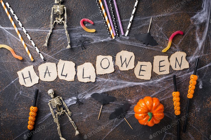 Creative Halloween background with different decor