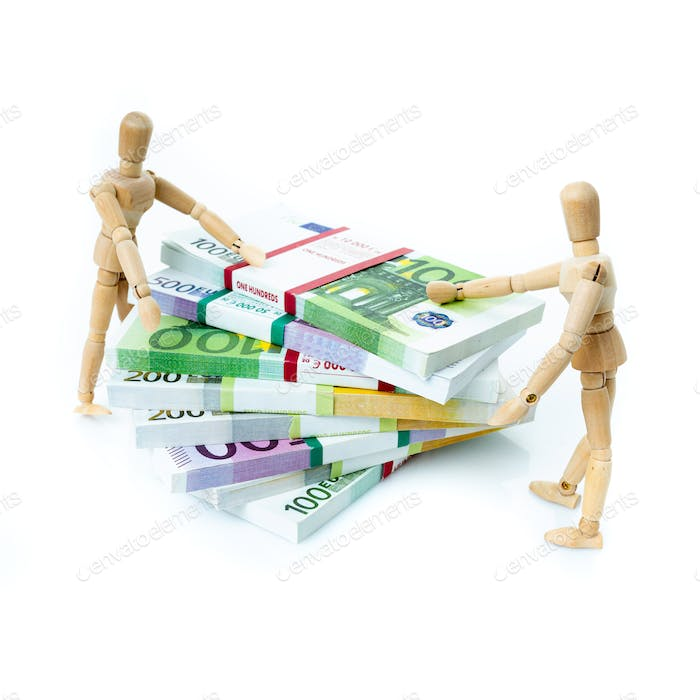 Miniature people on Euro banknotes. business, office, household, banking, tax, gambling concept