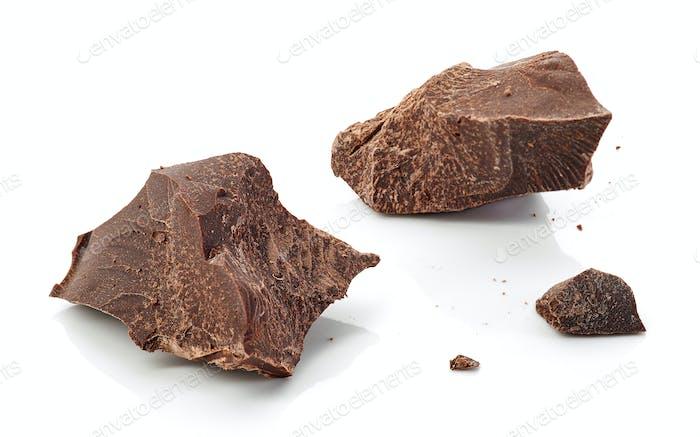 Stücke von dunkler Schokolade