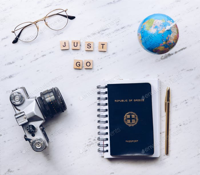 Just go words made from wooden letters. Travel concept