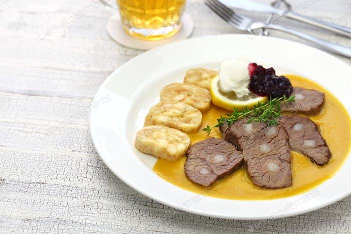 svickova na smetane, traditional Czech cuisine