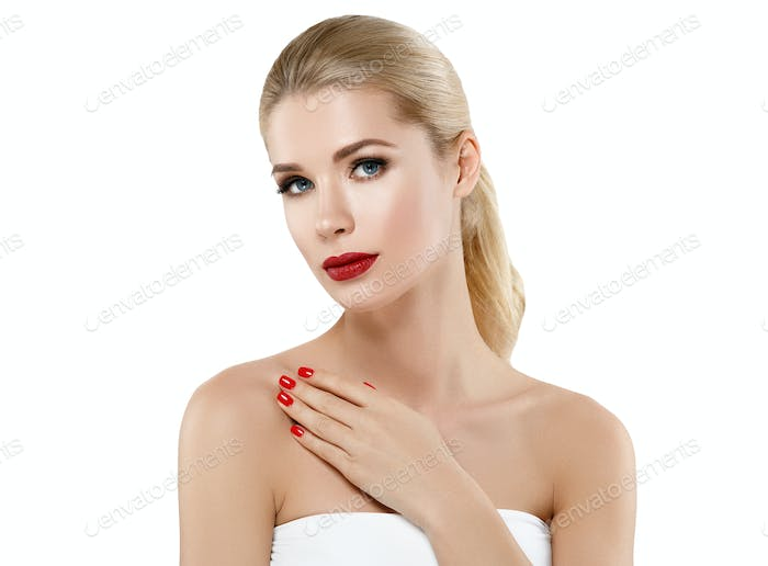 Woman nail manicure lipstick same color beauty portrait.