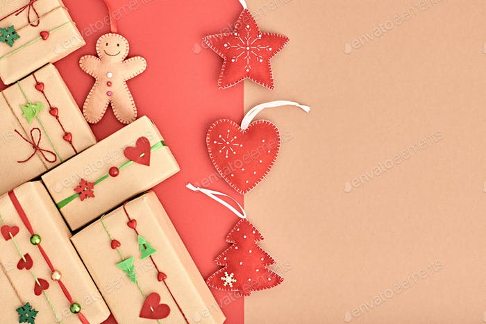 Christmas background decoration. Design Gift boxes