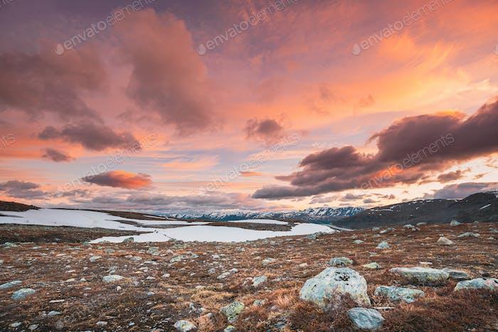 Aurlandsfjellet, Norway. Summer Norwegian Scenic Landscape Near Aurlandsfjellet Road. Scenic Route