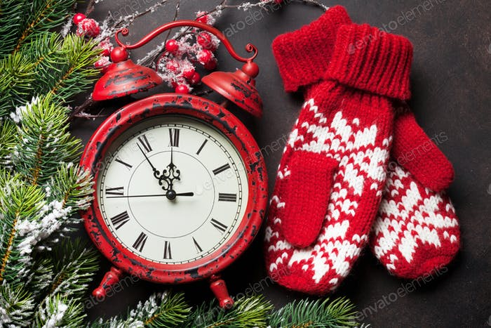 Christmas clock and mittens