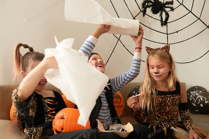 Children Playing On Halloween Party