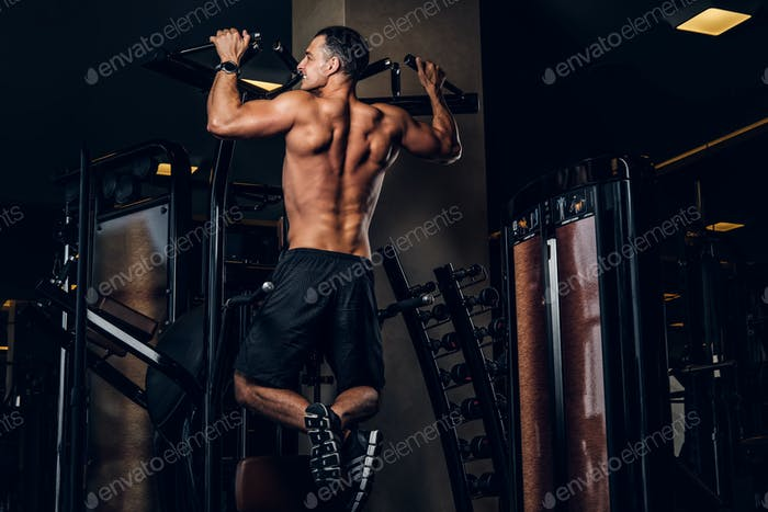 Muscular man is doing exercises with training apparatus