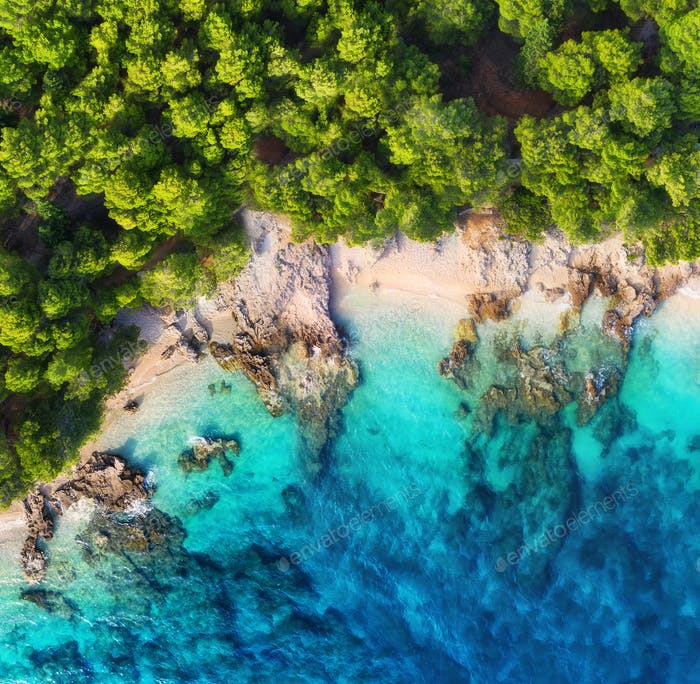 Aerial landscape in the Croatia. Summer seascape from air