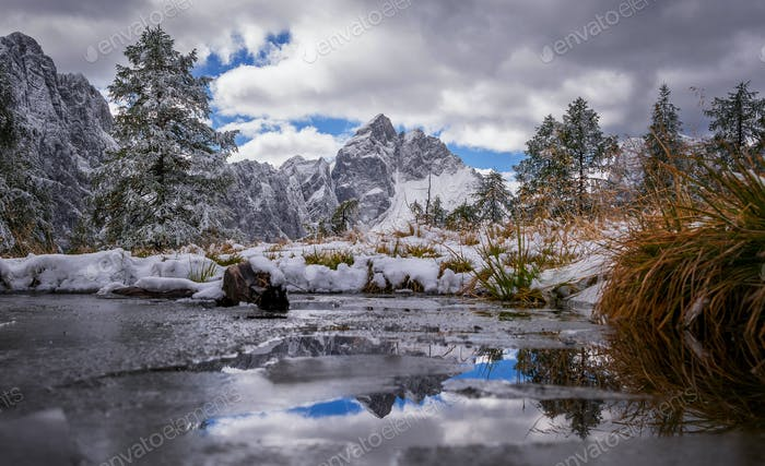 Reflection in the mountain lake in the Julian Alps