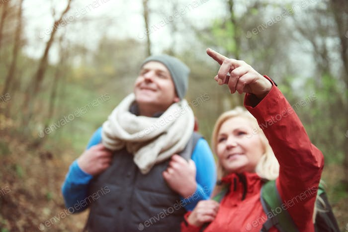 Woman pointing at something in the air