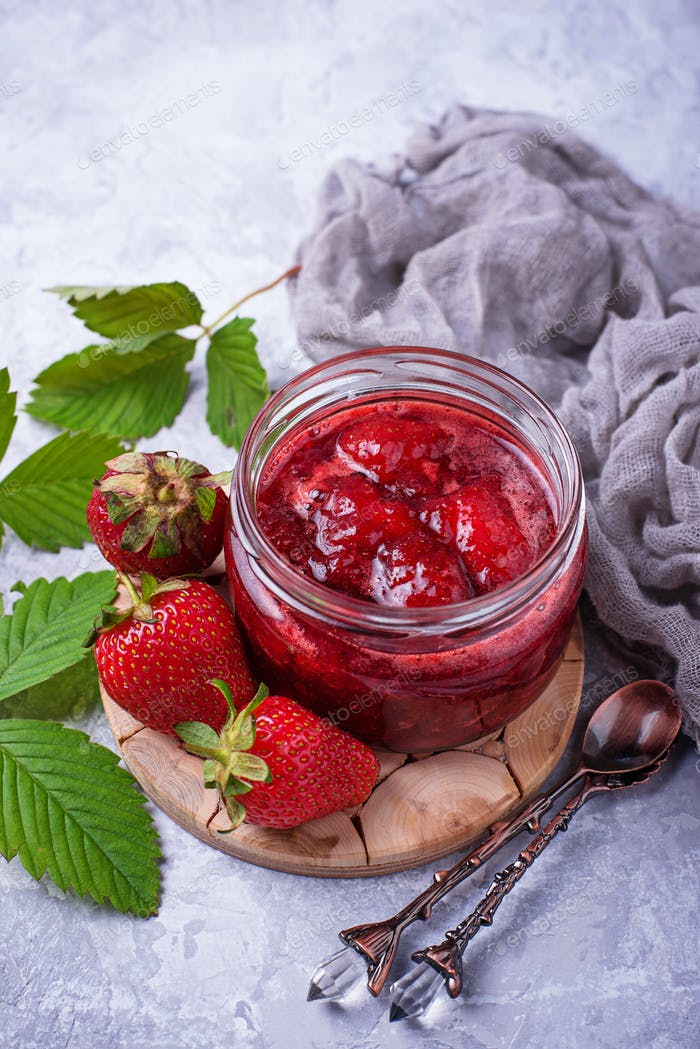 Strawberry jam in jar