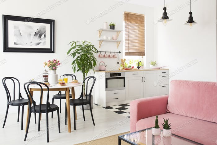 Pink sofa in white apartment interior with kitchenette and black