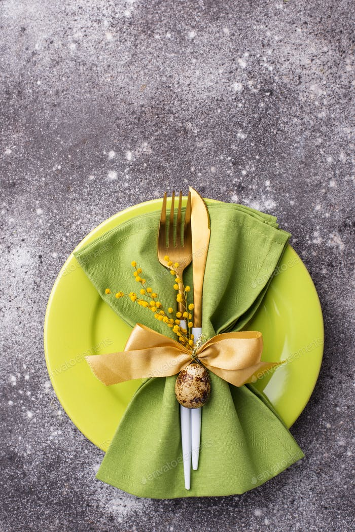 Easter table setting with green plate