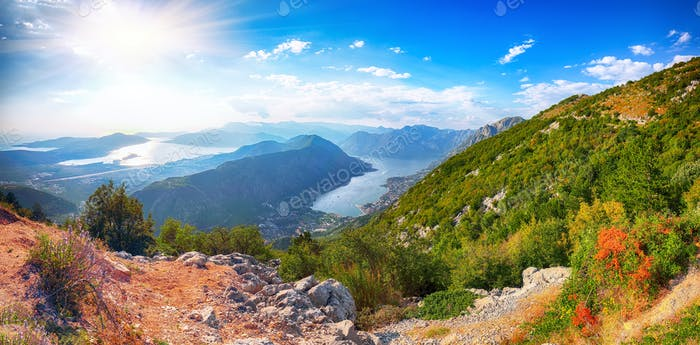 Beautiful view of the Bay of Kotor in Montenegro