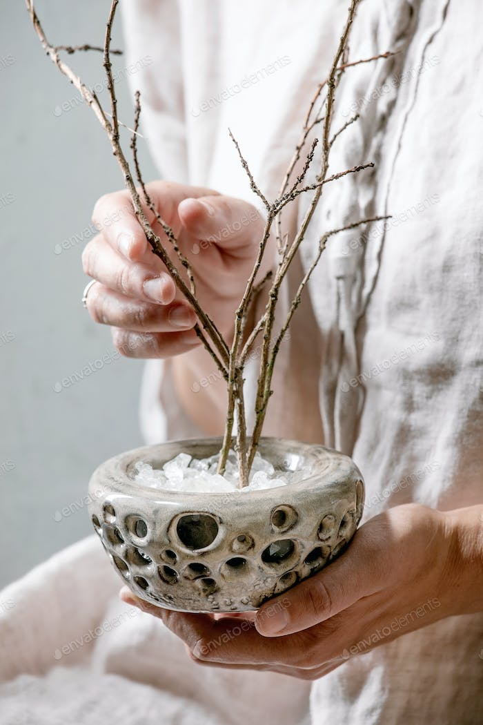 Vase with dry branches