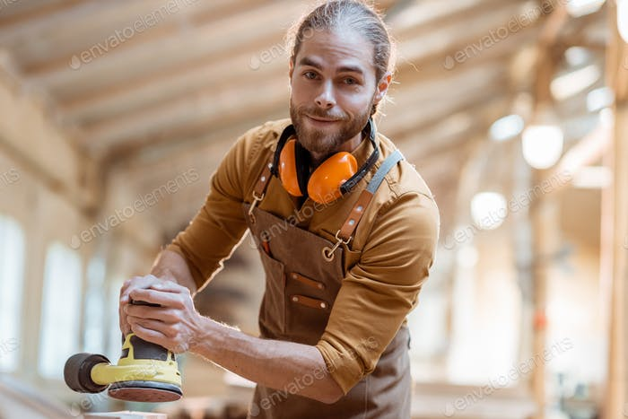 Portrait of a carpenter indoors