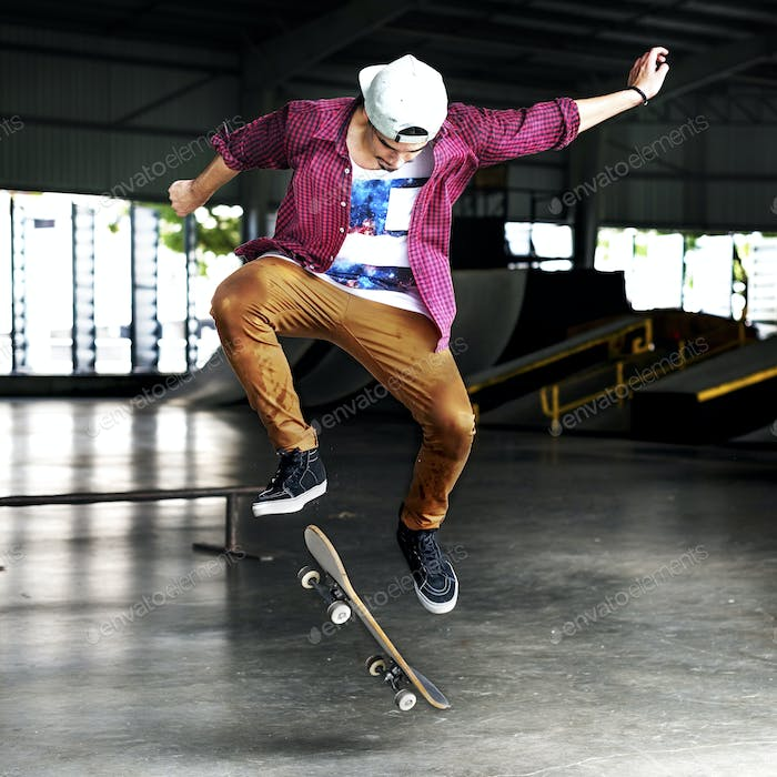 Thumbnail for Boy Skateboarding Jump Lifestyle Hipster Concept