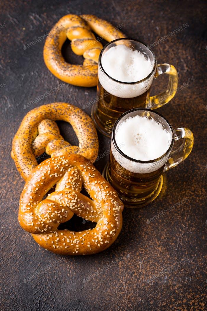 Beer and pretzels. Oktoberfest concept