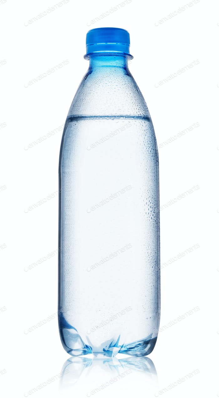Blue bottle of water with drops