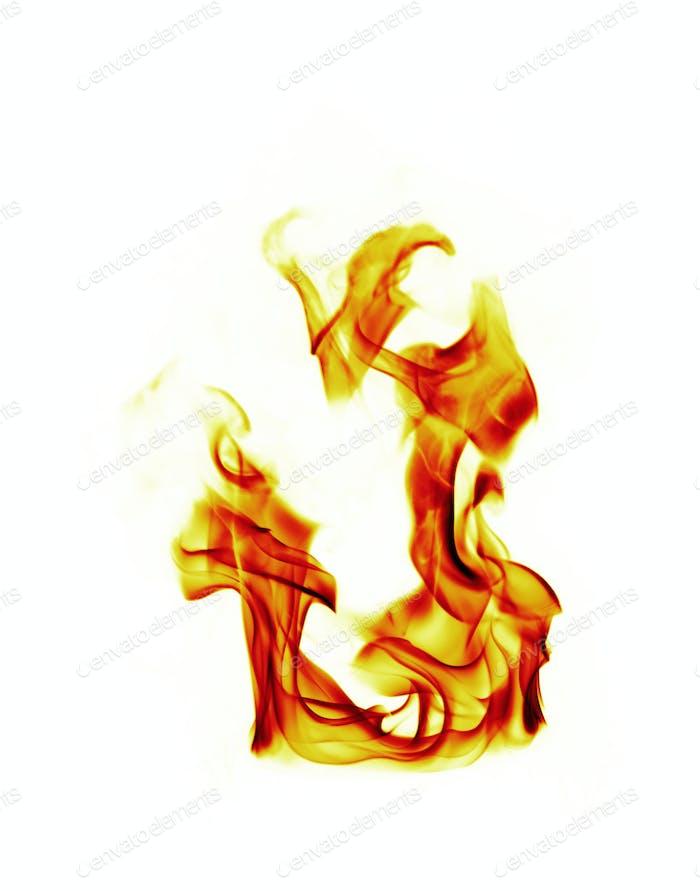 Feuer Flammen auf weißem Hintergrund