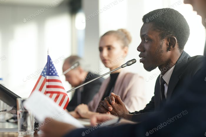 African speaker performing at conference