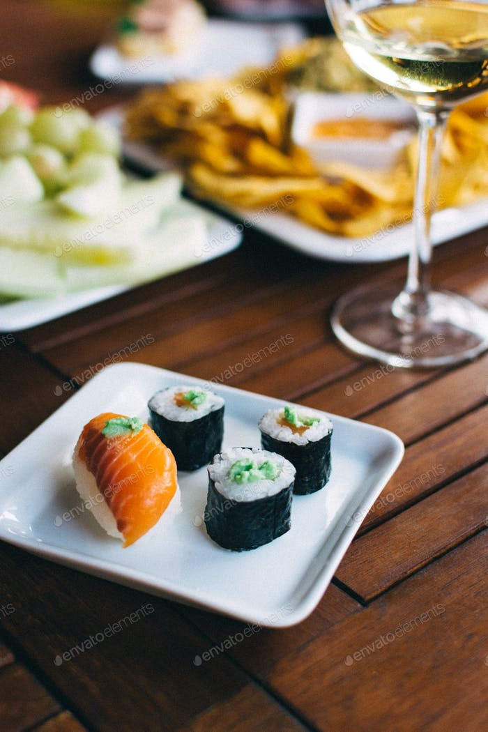 Sushi on a summer garden party
