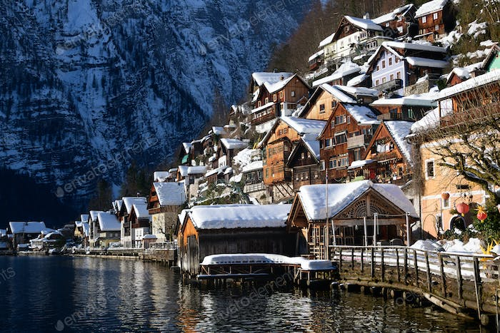 Architecture of the traditional wooden Hallstatt lakeside houses
