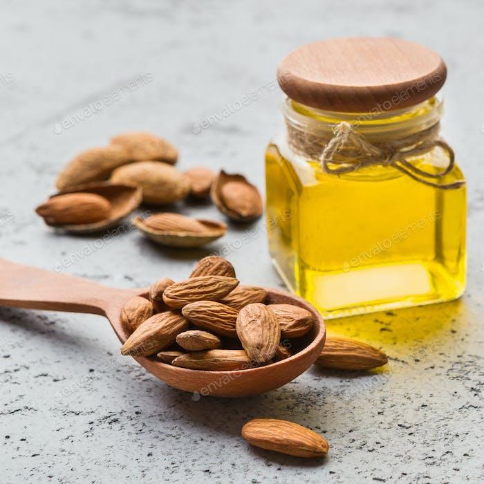 Almond oil health benefits concept