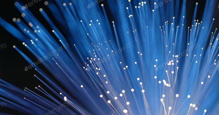 Fiber optics strands light in blue color