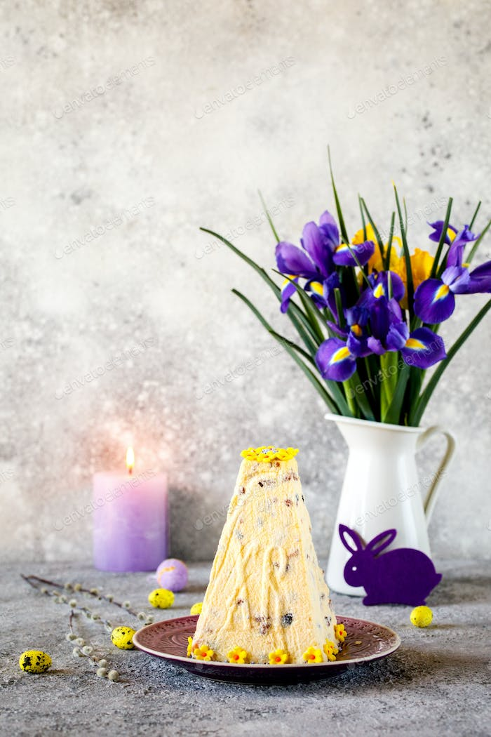Easter Orthodox curd cake on a festively decorated background
