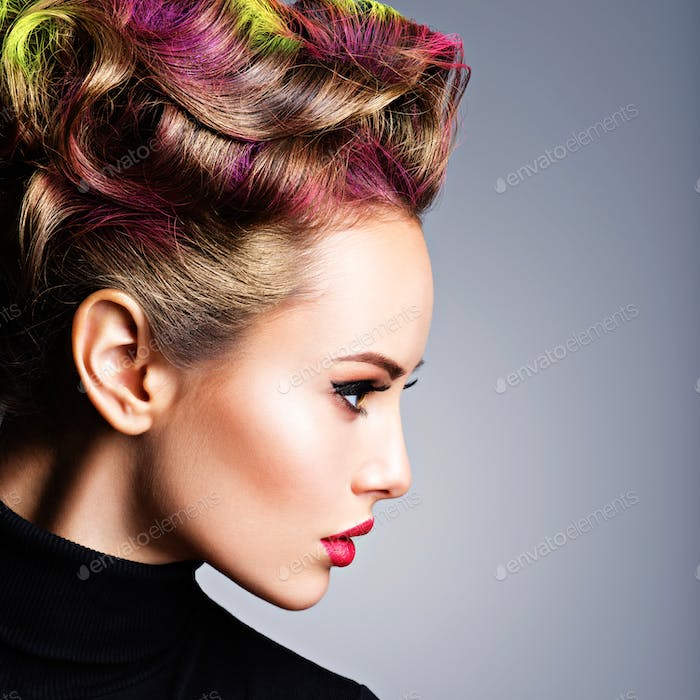 Model with a stylish hairstyle