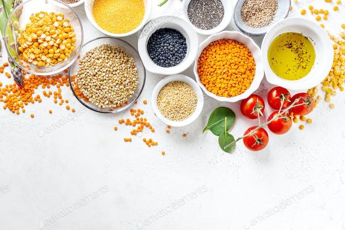 Gesundes Lebensmittelkonzept mit gesunden Zutaten