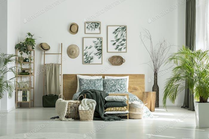 Traveler's bedroom with plants
