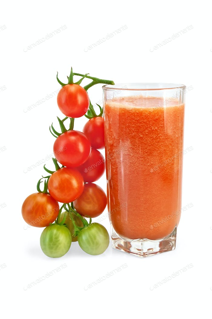 Juice tomato in glass with a cherry