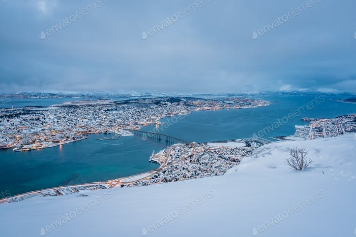 Aerial view to the city of Tromso in winter