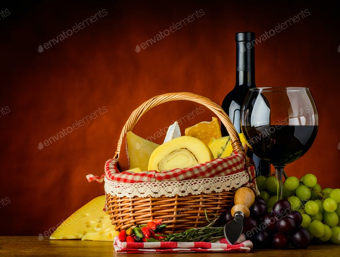 Red Wine and Basket with Cheese
